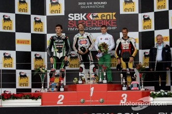 Podium from left: Loris Baz, Sylvain Guintoli and Jakub Smrz