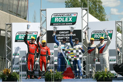 Podium: race winners Scott Pruett and Memo Rojas, second place Jon Fogarty, Alex Gurney, third place Paul Tracy, David Donohue