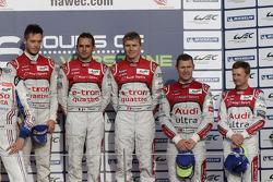 Overall podium: race winners Andre Lotterer, Benoit Tréluyer, Marcel Fässler, third place Allan McNish, Tom Kristensen