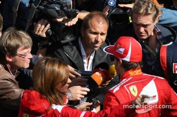 Fernando Alonso, Scuderia Ferrari is interviewd by Kai Ebel, RTL TV Presenter