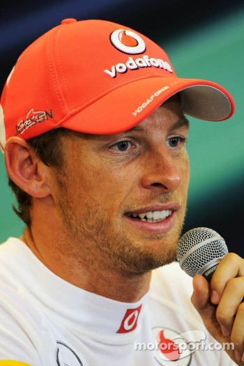 Pole sitter Jenson Button, McLaren in the FIA Press Conference