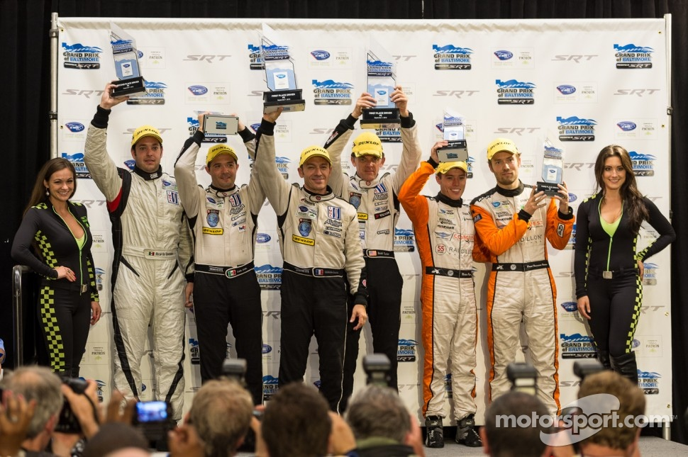 P2 podium: winners Scott Tucker, Christophe Bouchut, second place Ricardo Gonzalez, Luis Diaz, third place Martin Plowman, David Heinemeier Hansson