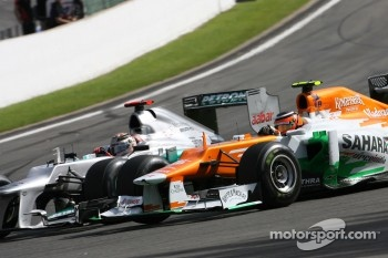 Michael Schumacher, Mercedes GP and Nico Hulkenberg, Sahara Force India Formula One Team