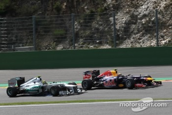 Nico Rosberg, Mercedes AMG Petronas and Mark Webber, Red Bull Racing