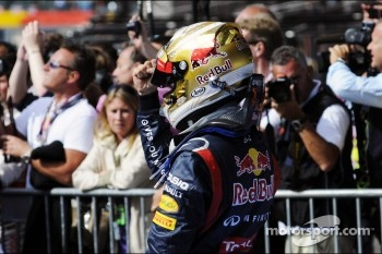 Sebastian Vettel, Red Bull Racing celebrates his second position in parc ferme