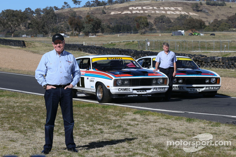 In this 50th year celebration, Allan Moffat and Colin Bond with the original 1977 winning Ford Falcons at Bathurst