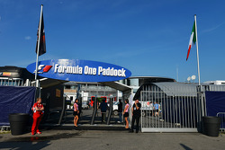 The entrance to the F1 paddock