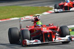 Felipe Massa, Ferrari leads team mate Fernando Alonso, Ferrari