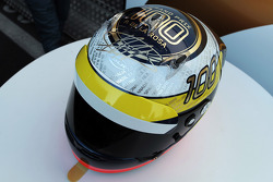 A helmet for Pedro de la Rosa, HRT Formula 1 Team celebrating his 100th GP