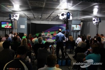 Press conference: race winner Lewis Hamilton, McLaren Mercedes, second place place Sergio Perez, Sauber F1 Team, third place Fernando Alonso, Scuderia Ferrari