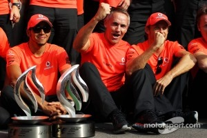 Italian GP Race winner Lewis Hamilton, McLaren celebrates with Martin Whitmarsh, McLaren Chief Executive Officer, Jenson Button, McLaren and the team