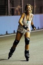 Roller blading around the circuit