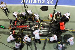 Lewis Hamilton, McLaren practices a pit stop