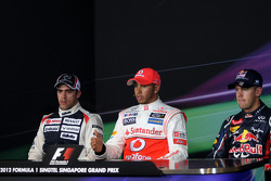 FIA press conference: pole winner Lewis Hamilton, McLaren, second place Pastor Maldonado, Williams, third place Sebastian Vettel, Red Bull Racing