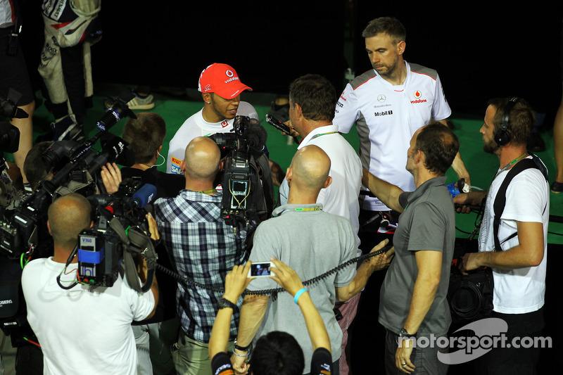 Lewis Hamilton, McLaren with the media