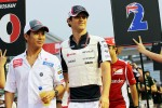Kamui Kobayashi, Sauber and Bruno Senna, Williams on the drivers parade