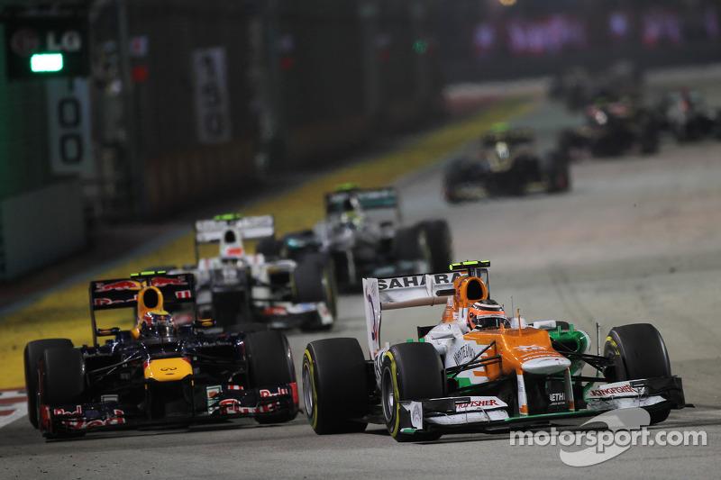 Nico Hulkenberg, Sahara Force India F1 leads Mark Webber, Red Bull Racing