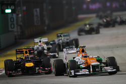 Nico Hulkenberg, Sahara Force India F1 leads Mark Webber, Red Bull Racing