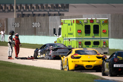 Heavy crash for #00 Ferrari of Houston 458TP: Owen Kratz, driver coach Anthony Lazzaro