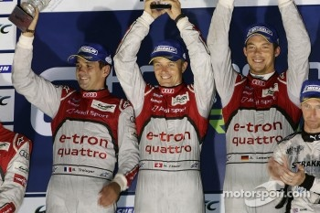 Overall podium: winners Marcel Fssler, Benoit Trluyer, Andre Lotterer