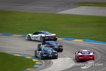 #91 Ferrari of Ft Lauderdale 458CS: Guy Leclerc leads a group of cars
