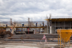 Construction of Sochi F1 track, paddock building