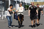 Romain Grosjean, Lotus F1 Team signs autographs for the fans
