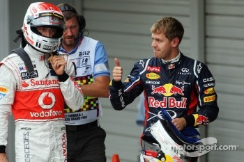 Pole winner Sebastian Vettel, Red Bull Racing, third place Jenson Button, McLaren
