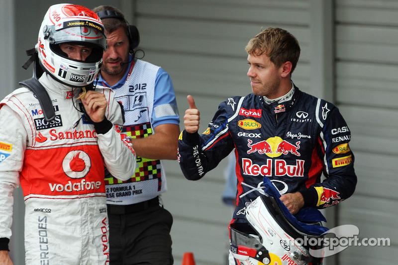 Pole winner Sebastian Vettel, Red Bull Racing, third place Jenson Button, McLaren