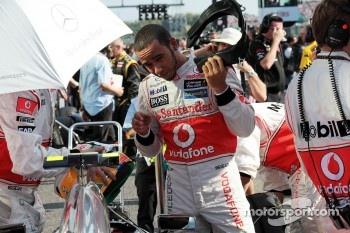Lewis Hamilton, McLaren on the grid