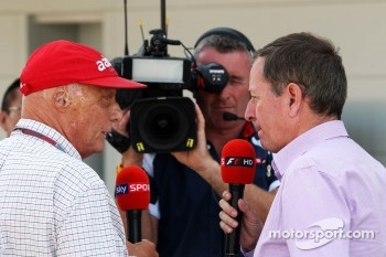 Niki Lauda, with Martin Brundle, Sky Sports Commentator