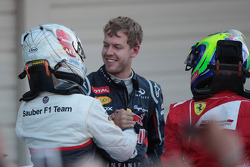 Kamui Kobayashi, Sauber F1 Team with Sebastian Vettel, Red Bull Racing and Felipe Massa, Scuderia Ferrari