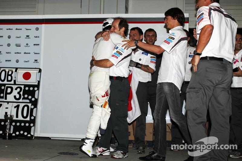 Kamui Kobayashi, Sauber celebrates his third position with the team