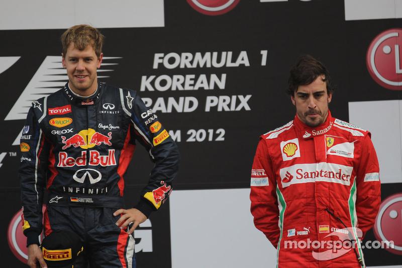 Podium: race winner Sebastian Vettel, Red Bull Racing, third place Fernando Alonso, Scuderia Ferrari