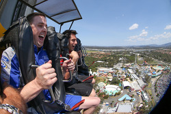 Mark Winterbottom rides the Giant Drop at Dreamworld