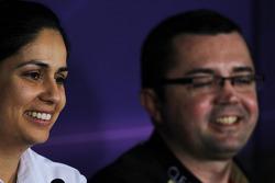 (L to R): Monisha Kaltenborn, Sauber Team Principal and Eric Boullier, Lotus F1 Team Principal in the FIA Press Conference