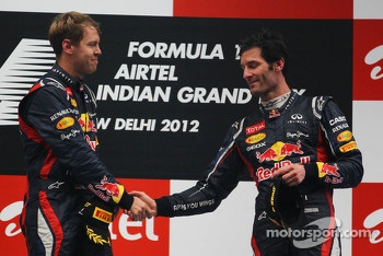 1st place Sebastian Vettel, Red Bull Racing and 3rd place Mark Webber, Red Bull Racing