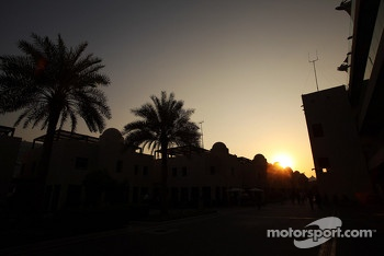 Sun sets in the paddock