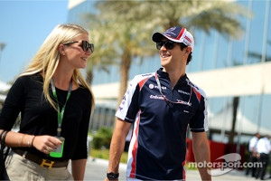Bruno Senna, Williams with girlfriend Charlotte Evans