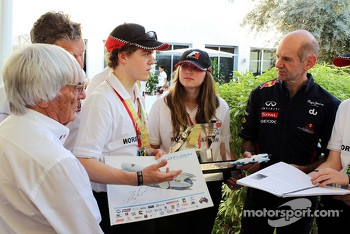 Bernie Ecclestone, CEO Formula One Group, and Adrian Newey, Red Bull Racing Chief Technical Officer with the F1 in Schools World Champions
