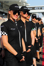 Etihad grid girls on the drivers parade