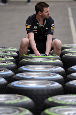 A Red Bull tire engineer