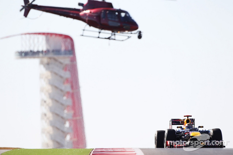 Sebastian Vettel, Red Bull Racing tracked by a helicopter