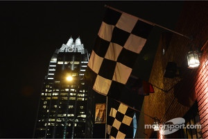 A F1 themed bar in Austin at night
