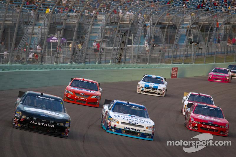 Andrew Ranger, Front Row Motorsports Ford, Elliott Sadler, Richard Childress Racing Chevrolet and Ricky Stenhouse Jr., Roush Fenway Ford