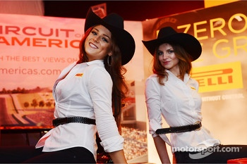 Pirelli girls at the Austin Fan Fest on the Saturday night