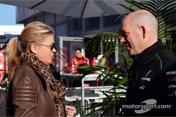 Corinna Schumacher, with Jock Clear, Mercedes AMG F1