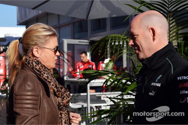 Corinna Schumacher, with Jock Clear, Mercedes AMG F1