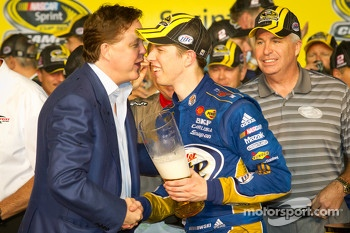 Championship victory lane: 2012 NASCAR Sprint Cup Series champion Brad Keselowski, Penske Racing Dodge celebrates with Brian France
