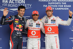pole for Lewis Hamilton, McLaren Mercedes 2nd for Jenson Button, McLaren Mercedes and 3rd for Mark Webber, Red Bull Racing